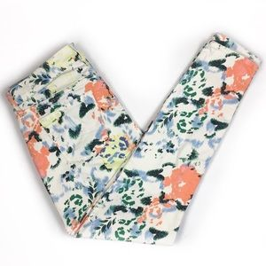 Gap White And Floral Jeans